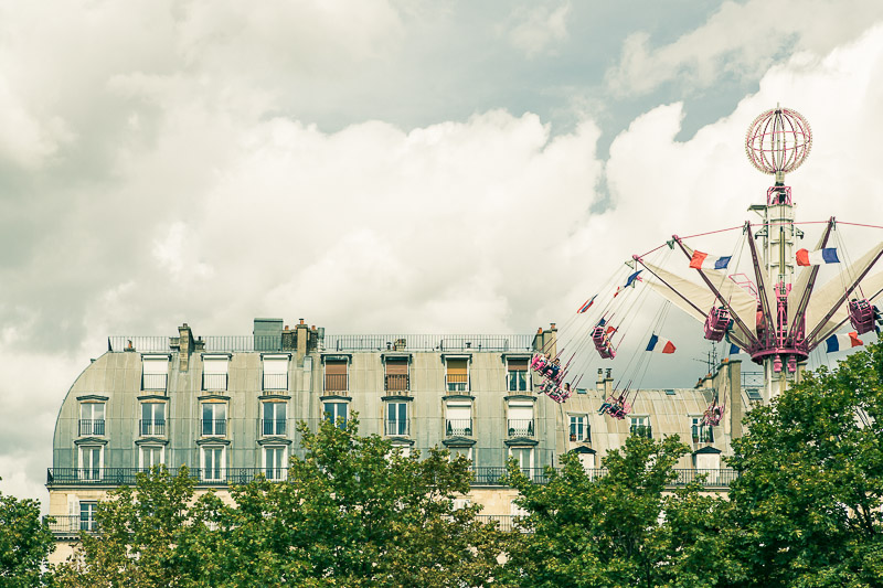Parisian roof tops and the french flag