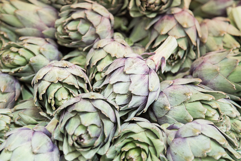 Beautiful artichokes at Marché Bastille, one of the many food markets in Paris